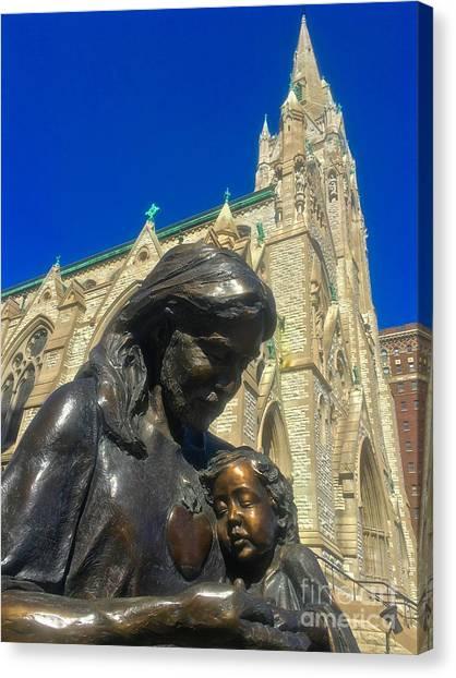 Saint Louis University Canvas Print - Bronze Jesus At St Francis Xavier  by Debbie Fenelon