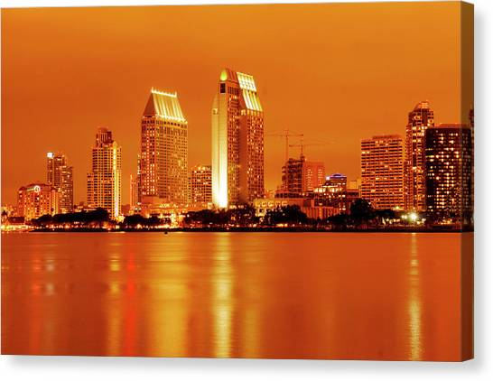 Bronze San Diego Skyline Canvas Print