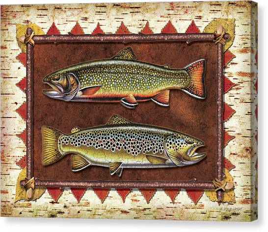 Fly Fishing Canvas Print - Brook And Brown Trout Lodge by JQ Licensing