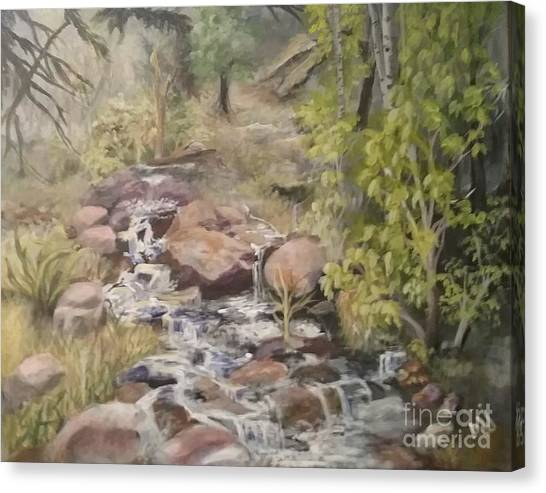 Canvas Print featuring the painting Brook by Saundra Johnson