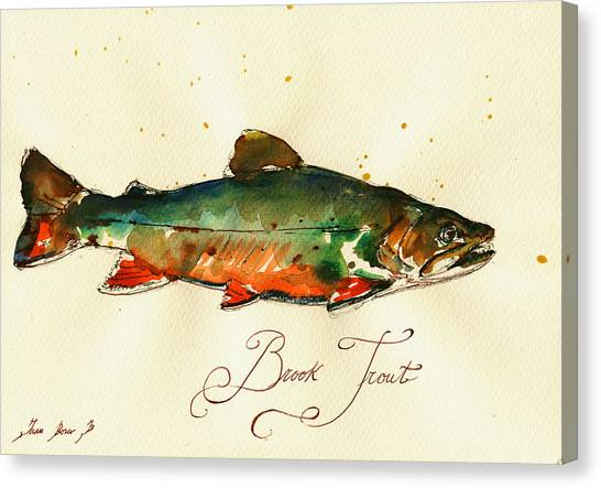 Fly Fishing Canvas Print - Brook Trout Art by Juan  Bosco