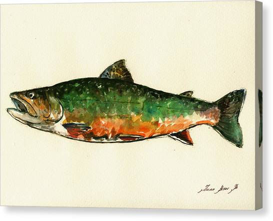 Fly Fishing Canvas Print - Brook Trout by Juan  Bosco