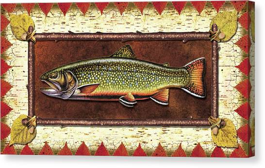 Fly Fishing Canvas Print - Brook Trout Lodge by JQ Licensing