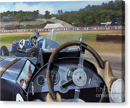 Racecar Drivers Canvas Print - Brooklands From The Hot Seat  by Richard Wheatland
