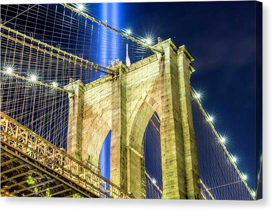 Brooklyn Bridge And The Tribute In Light Canvas Print by Zev Steinhardt