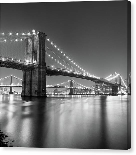 Travel Canvas Print - Brooklyn Bridge At Night by Adam Garelick