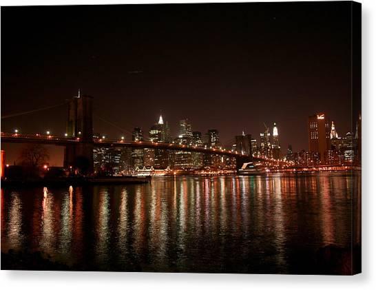 Brooklyn Bridge At Night Canvas Print by Jason Hochman