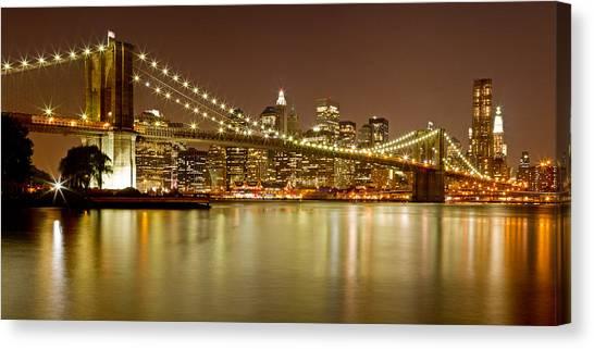 Brooklyn Bridge At Night Panorama 10 Canvas Print