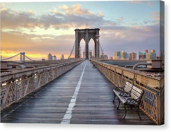 Consumerproduct Canvas Print - Brooklyn Bridge At Sunrise by Anne Strickland Fine Art Photography