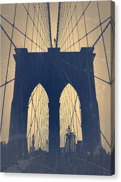 Brooklyn Bridge Canvas Print - Brooklyn Bridge Blue by Naxart Studio
