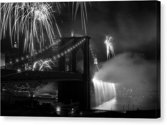 Brooklyn Bridge Columbus Quincentennial 1992 Canvas Print by Tom Callan