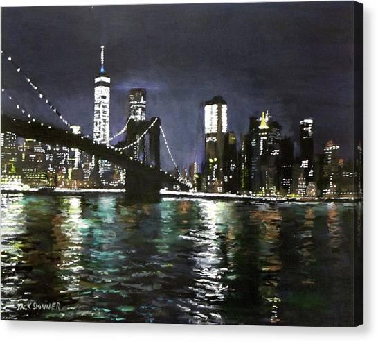 Canvas Print - Brooklyn Bridge, East River At Night by Jack Skinner