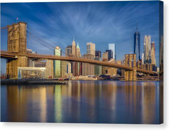 Canvas Print featuring the photograph Brooklyn Bridge From Dumbo by Susan Candelario