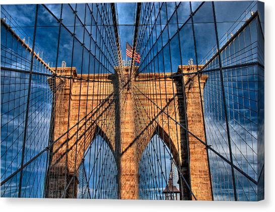 Brooklyn Bridge In The Golden Light Canvas Print