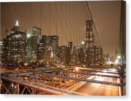 Canvas Print featuring the photograph Brooklyn Bridge Night Sky by Wilko Van de Kamp