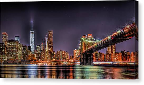Canvas Print featuring the photograph Brooklyn Bridge Park Nights by Theodore Jones