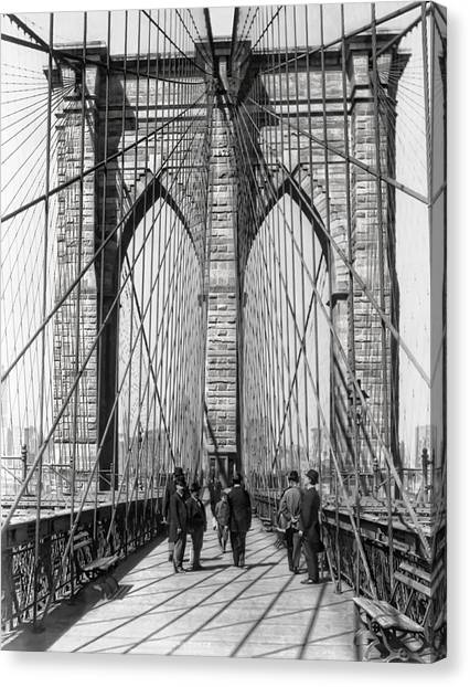 Brooklyn Nets Canvas Print - Brooklyn Bridge Promenade 1898 - New York by Daniel Hagerman