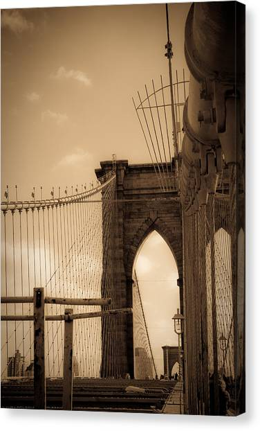 Brooklyn Bridge Span Canvas Print by Patrick  Flynn