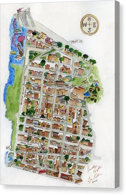 Brooklyn Heights Map Canvas Print