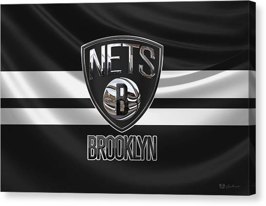 Brooklyn Nets Canvas Print - Brooklyn Nets - 3 D Badge Over Flag by Serge Averbukh