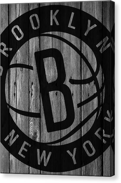 Brooklyn Nets Canvas Print - Brooklyn Nets Wood Fence by Joe Hamilton
