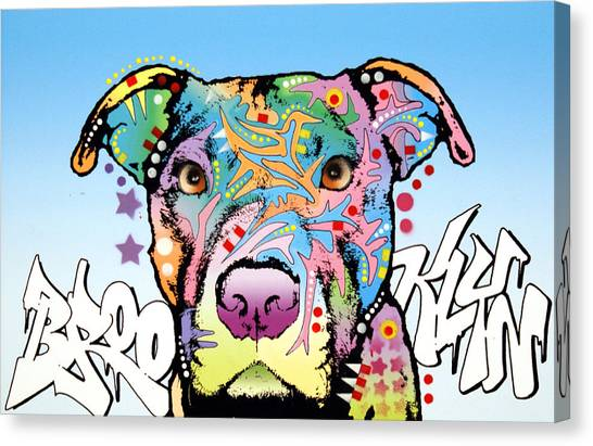Pit Bull Canvas Print - Brooklyn Pit Bull 2 by Dean Russo Art