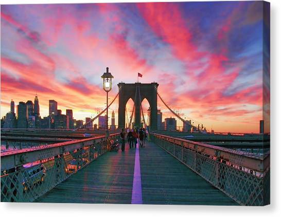New York Skyline Canvas Print - Brooklyn Sunset by Rick Berk