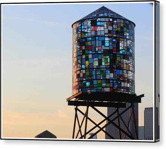 Brooklyn's Glowing Glass Water Tower - Public Art Canvas Print