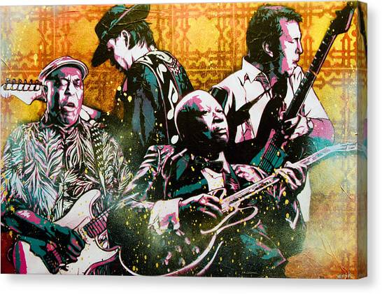 Eric Clapton Canvas Print - Brothers In Blues by Bobby Zeik