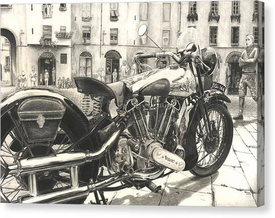Pencil Drawing Motorcycle Canvas Print - Brough Superior Ss 100 by Norman Bean