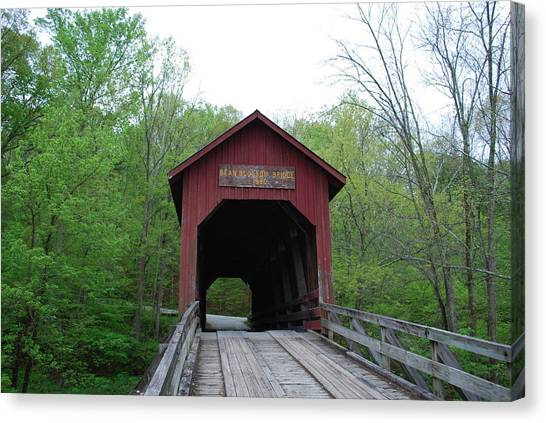 Brown County Covered Bridge Canvas Print by Beverly Cazzell