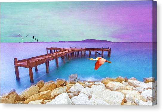 Spoonbills Canvas Print - Brown Dock by Laura D Young