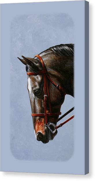 Bay Horse Canvas Print - Brown Dressage Horse Phone Case by Crista Forest