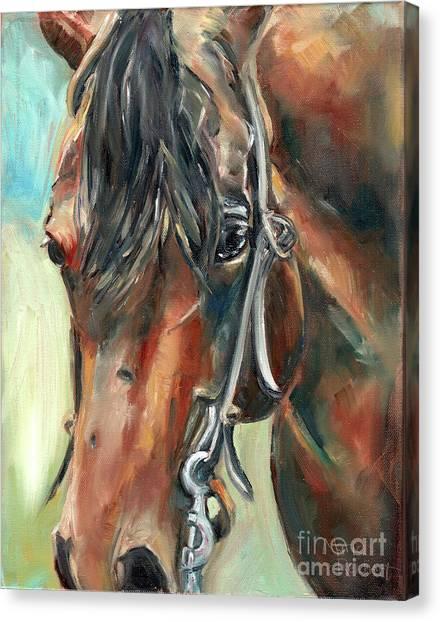 Pleasure Horse Canvas Print - Brown Horse Head by Maria's Watercolor