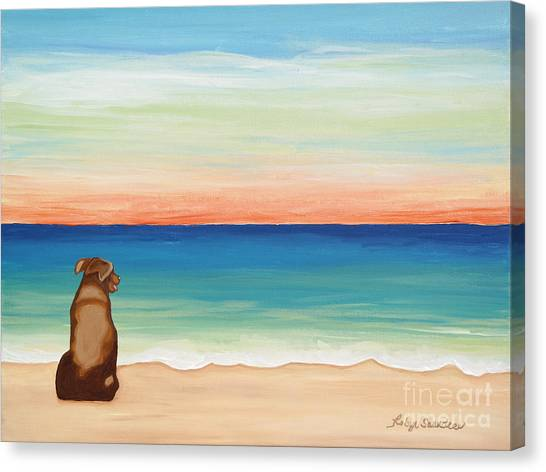 Brown Lab Dog On The Beach Canvas Print