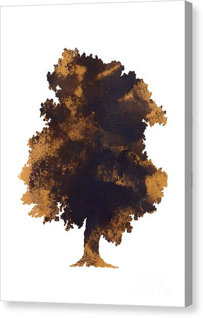 Trees Canvas Print - Brown Oak Minimalist Painting by Joanna Szmerdt