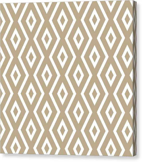 Tribal Canvas Print - Beige Pattern by Christina Rollo