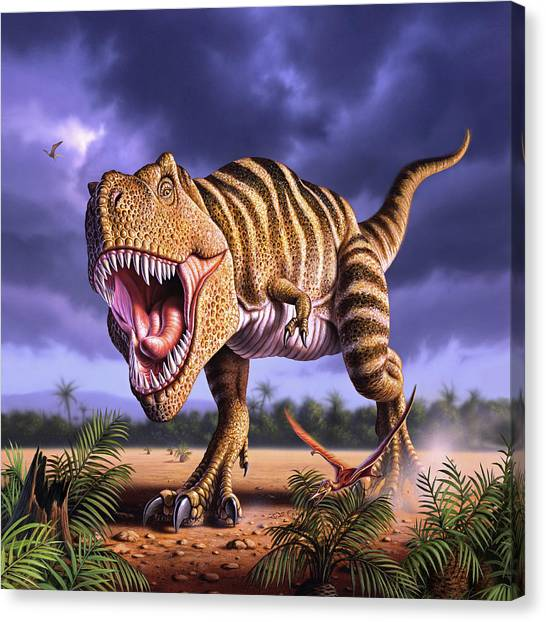 Tyrannosaurus Canvas Print - Brown Rex by Jerry LoFaro