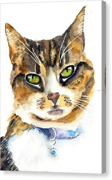 Purebred Canvas Print - Brown Tabby Cat Watercolor by Carlin Blahnik CarlinArtWatercolor