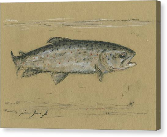 Fly Fishing Canvas Print - Brown Trout by Juan Bosco