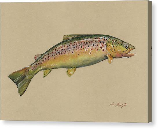 Fly Fishing Canvas Print - Brown Trout Jumping by Juan Bosco