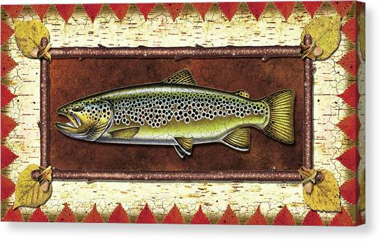 Fly Fishing Canvas Print - Brown Trout Lodge by JQ Licensing