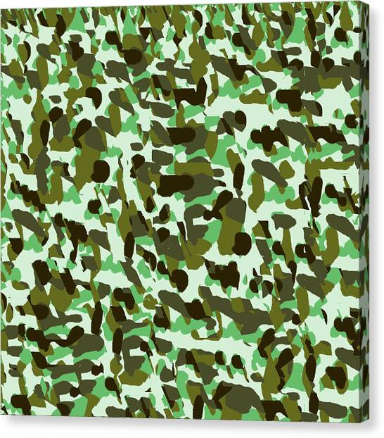Green Camo Canvas Print - Brownish Green Camo by Alejandra Ortega