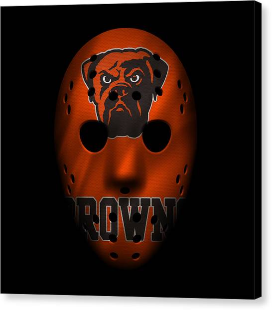 Cleveland Browns Canvas Print - Browns War Mask 3 by Joe Hamilton