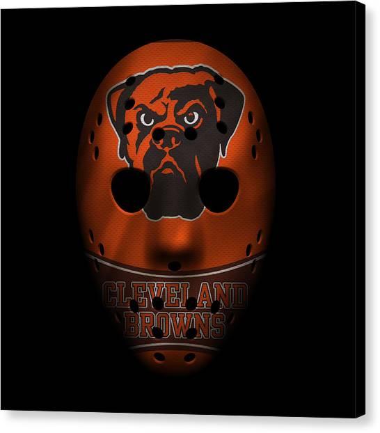 Cleveland Browns Canvas Print - Browns War Mask 4 by Joe Hamilton