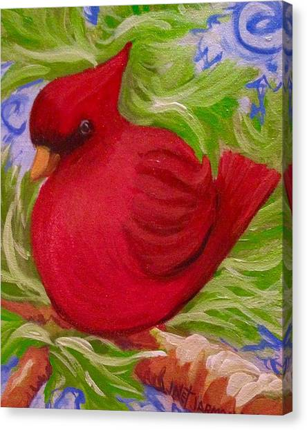 Canvas Print featuring the painting Brrr Bird by Jeanette Jarmon
