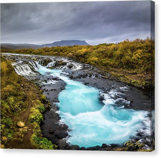 Canvas Print featuring the photograph Bruarfoss In The Gloom by Rikk Flohr