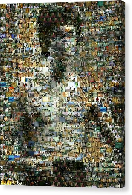 Kung Fu Canvas Print - Bruce Lee Mosaic by Paul Van Scott