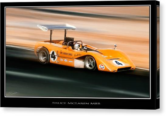 Racecar Drivers Canvas Print - Bruce Mclaren M8b by Peter Chilelli