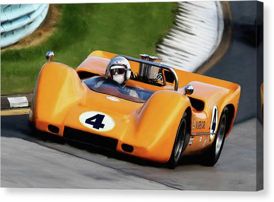Racecar Drivers Canvas Print - Bruce Mclaren by Peter Chilelli